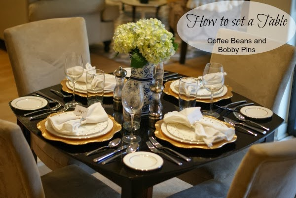 I dream of a huge 8-10 person table one day where I can have elaborate table runners and gorgeous centerpieces. & Happy Thanksgiving and How to: set a Table | Coffee Beans and Bobby Pins