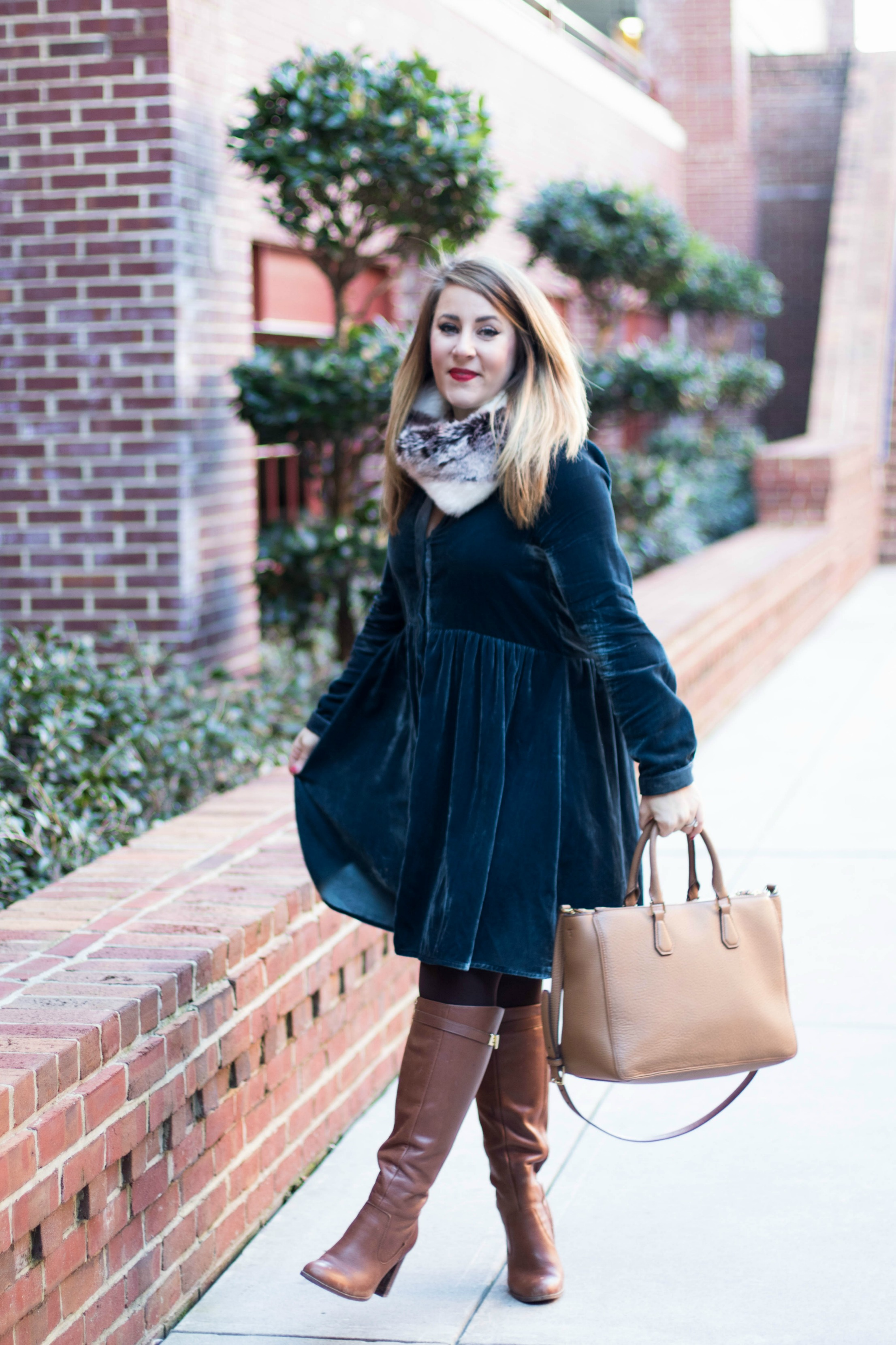 Anthropologie Velvet Dress by fashion blogger Amy of Coffee Beans and Bobby Pins