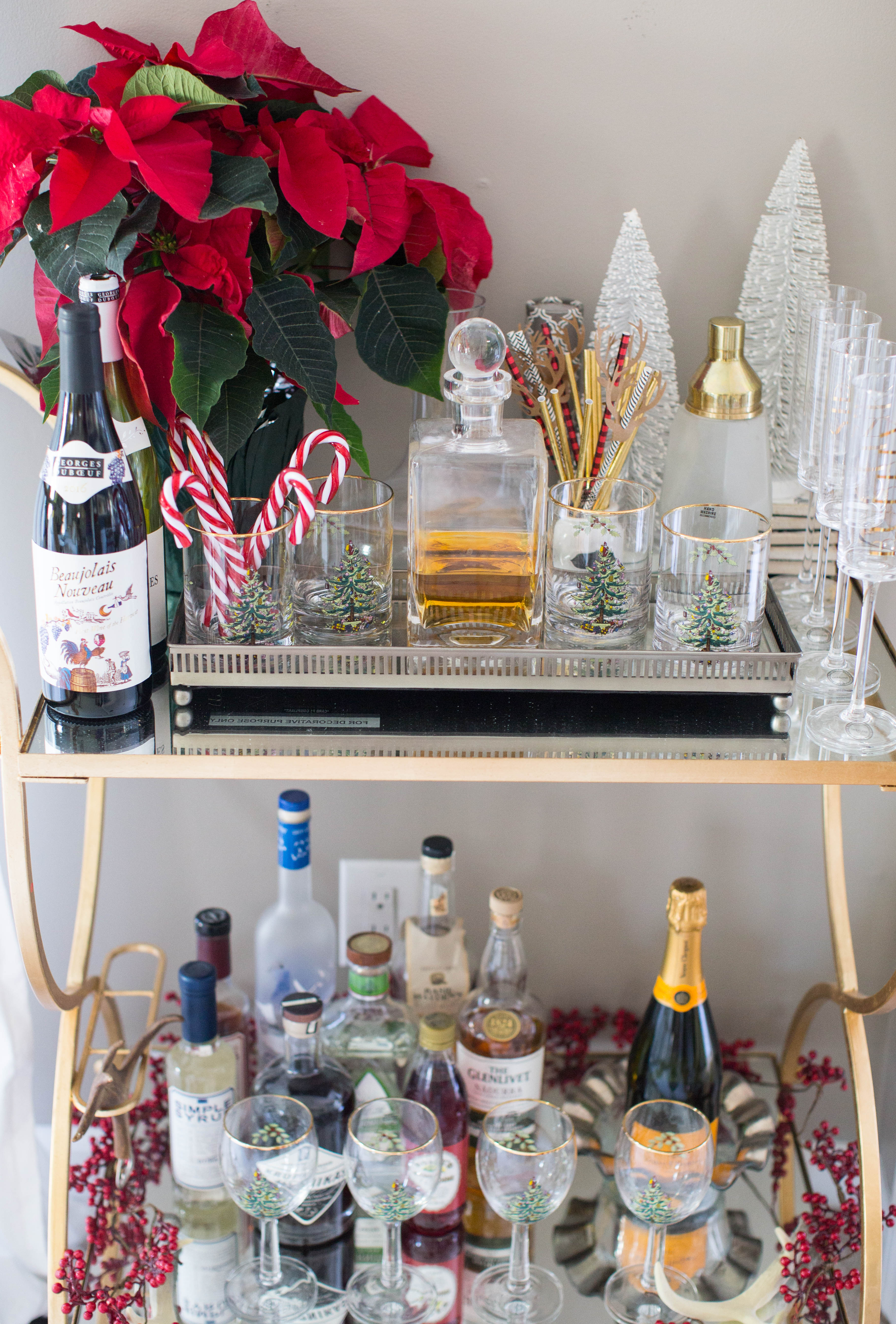 img_3828 - 3 Awesome Holiday Bar Cart Ideas by North Carolina style blogger Coffee Beans and Bobby Pins