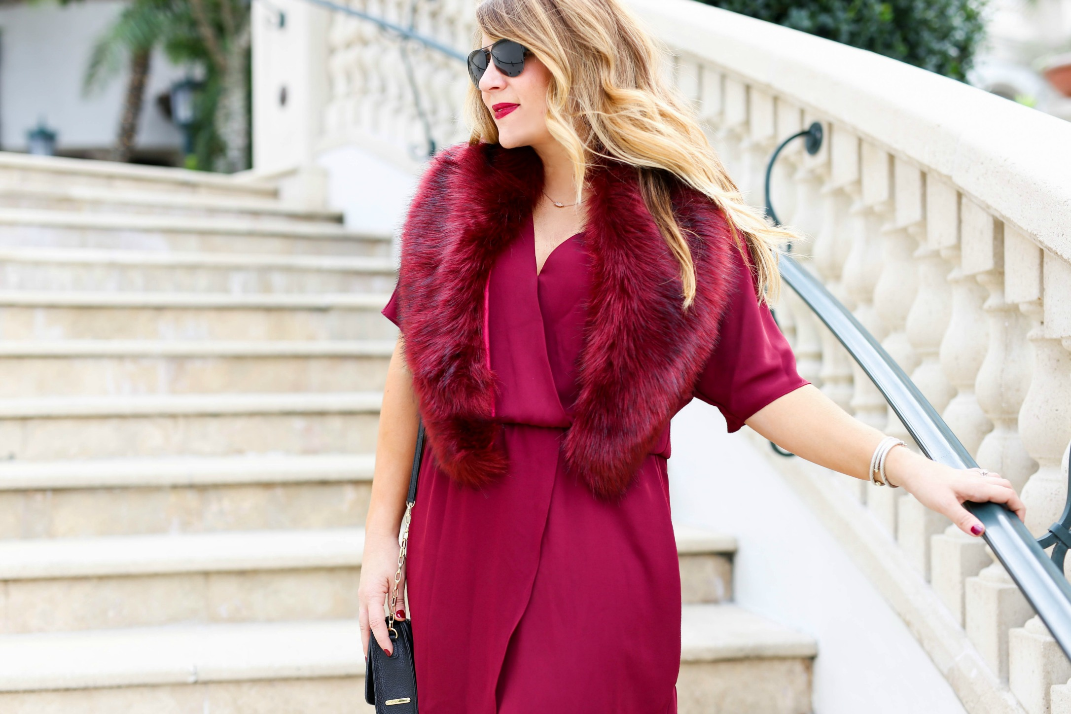 sole-society-fur-stole - Holiday Dress Under $60 by North Carolina fashion blogger Coffee Beans and Bobby Pins