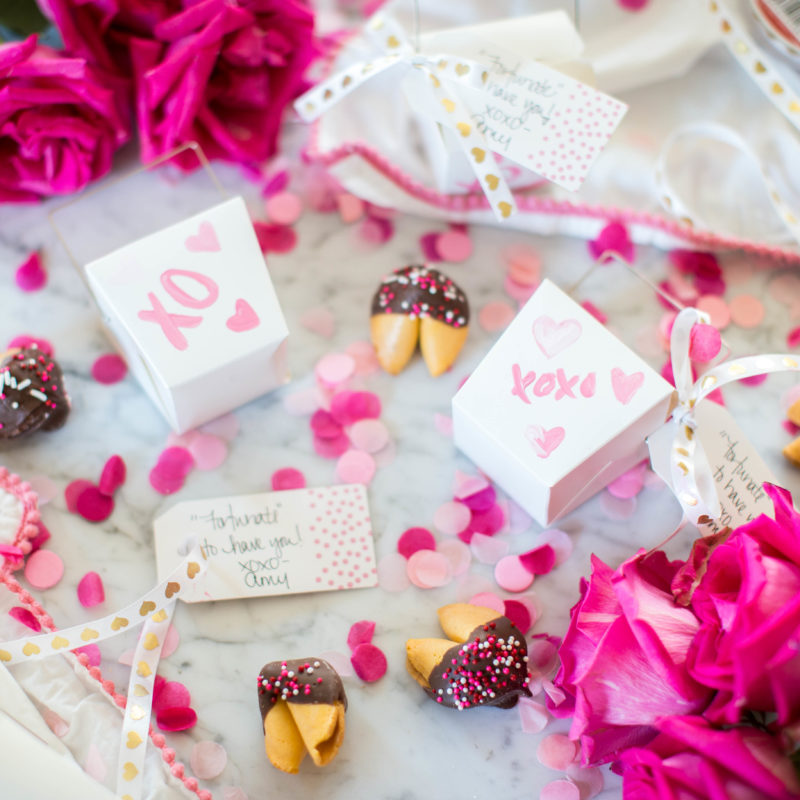 Valentine's DIY and Chocolate Dipped Fortune Cookie How-To