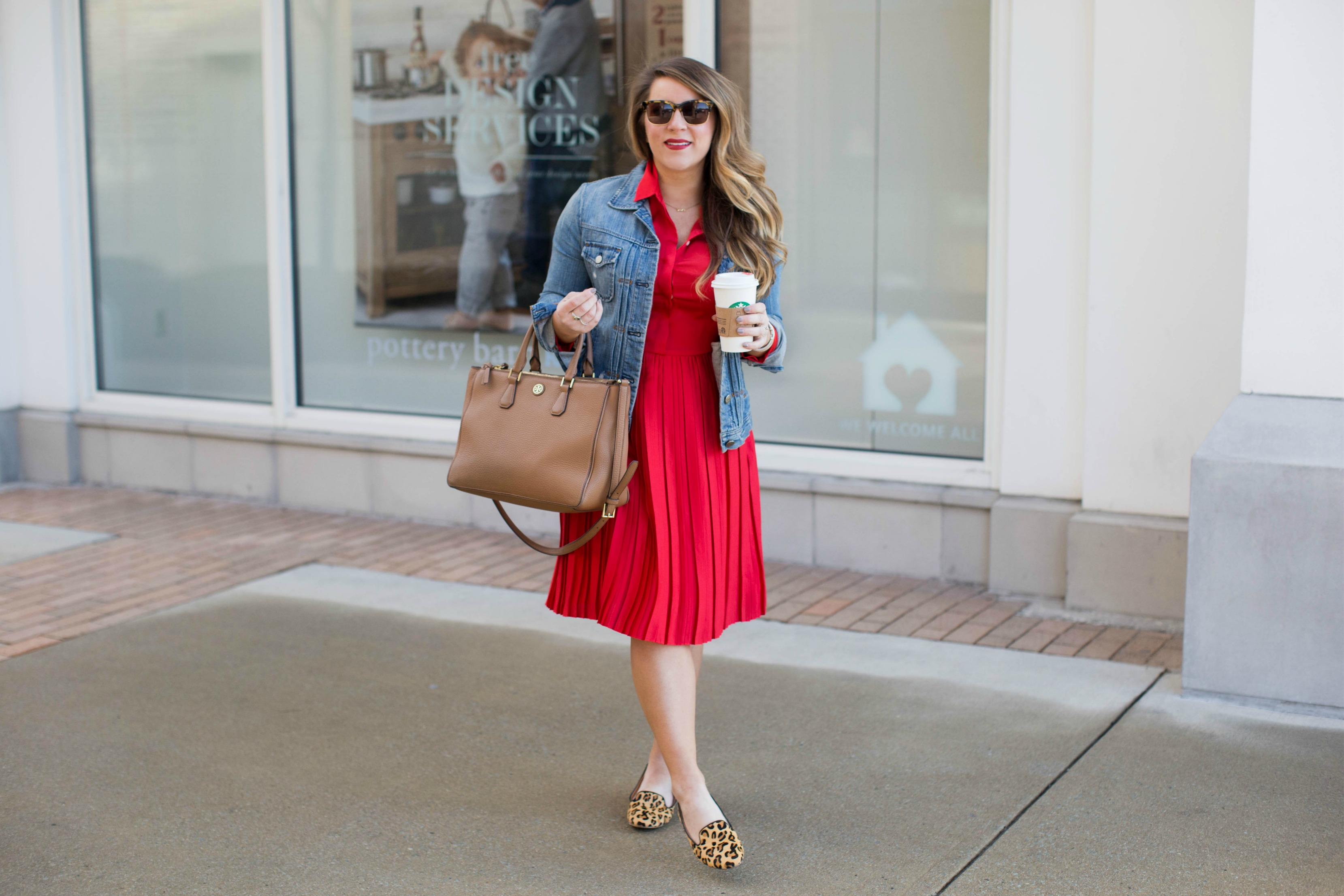 Versatile Red Dress for Errands or the Office | coffeebeansandbobbypins.com