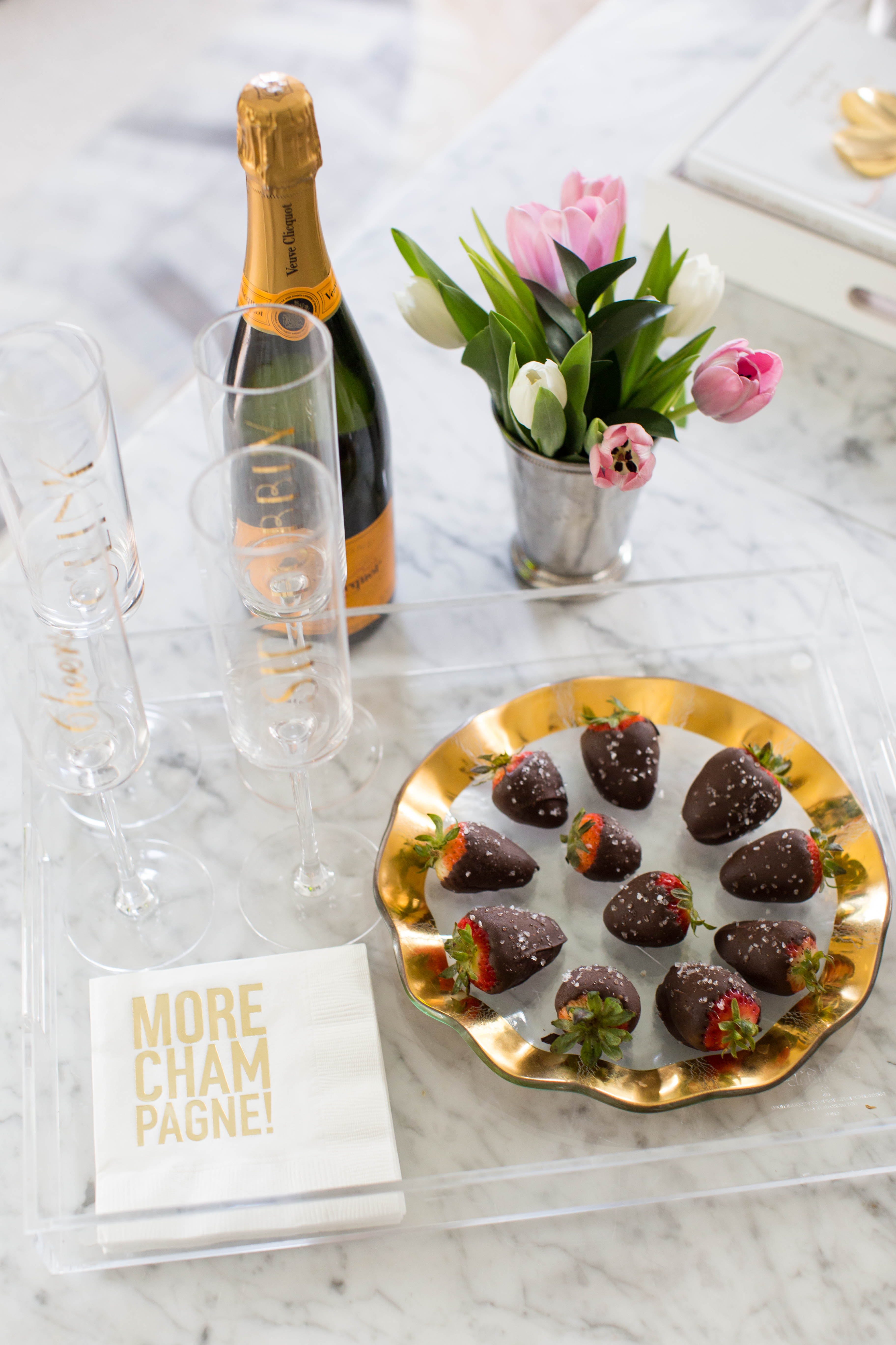 Decadent Salted Chocolate Champagne Strawberries by NC lifestyle blogger Amy of Coffee Beans and Bobby Pins