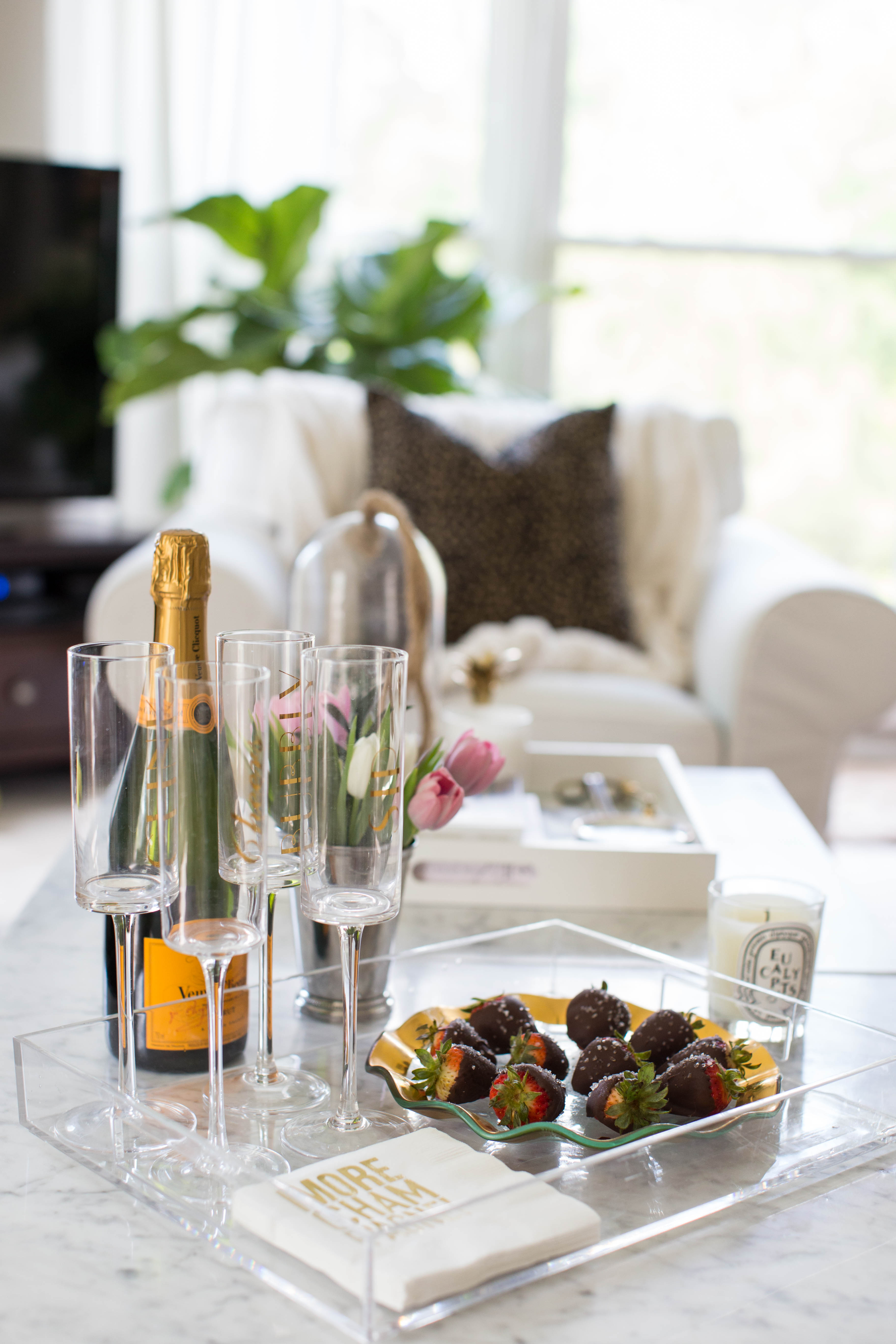 Decadent Champagne Soaked Salted Chocolate Strawberries by NC lifestyle blogger Amy of Coffee Beans and Bobby Pins