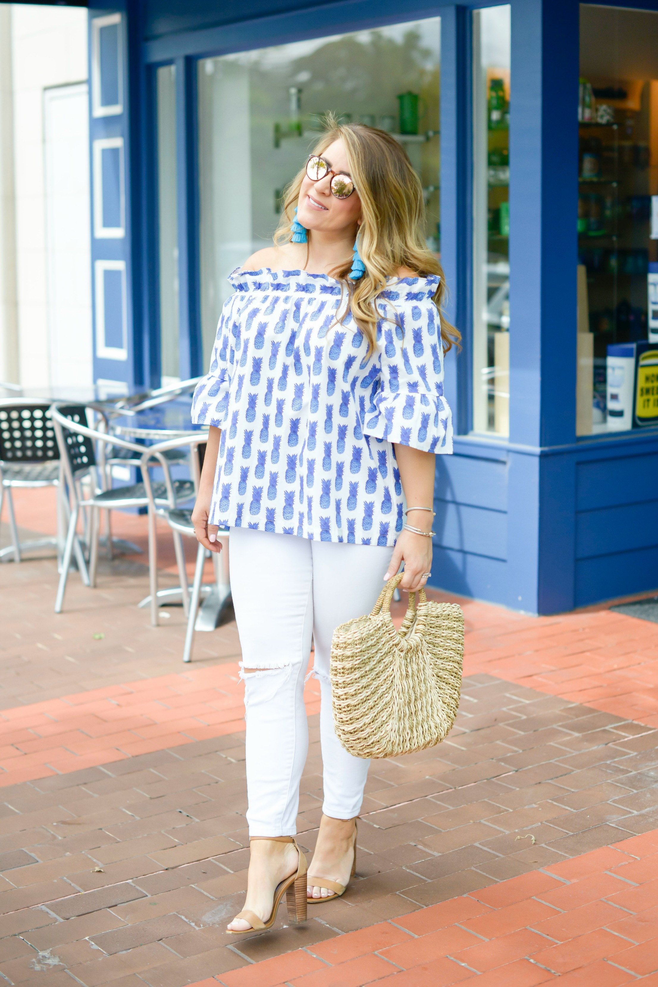 7b901cbefb7e7 Off the Shoulder Pineapple Top by NC fashion blogger Amy of Coffee Beans  and Bobby Pins