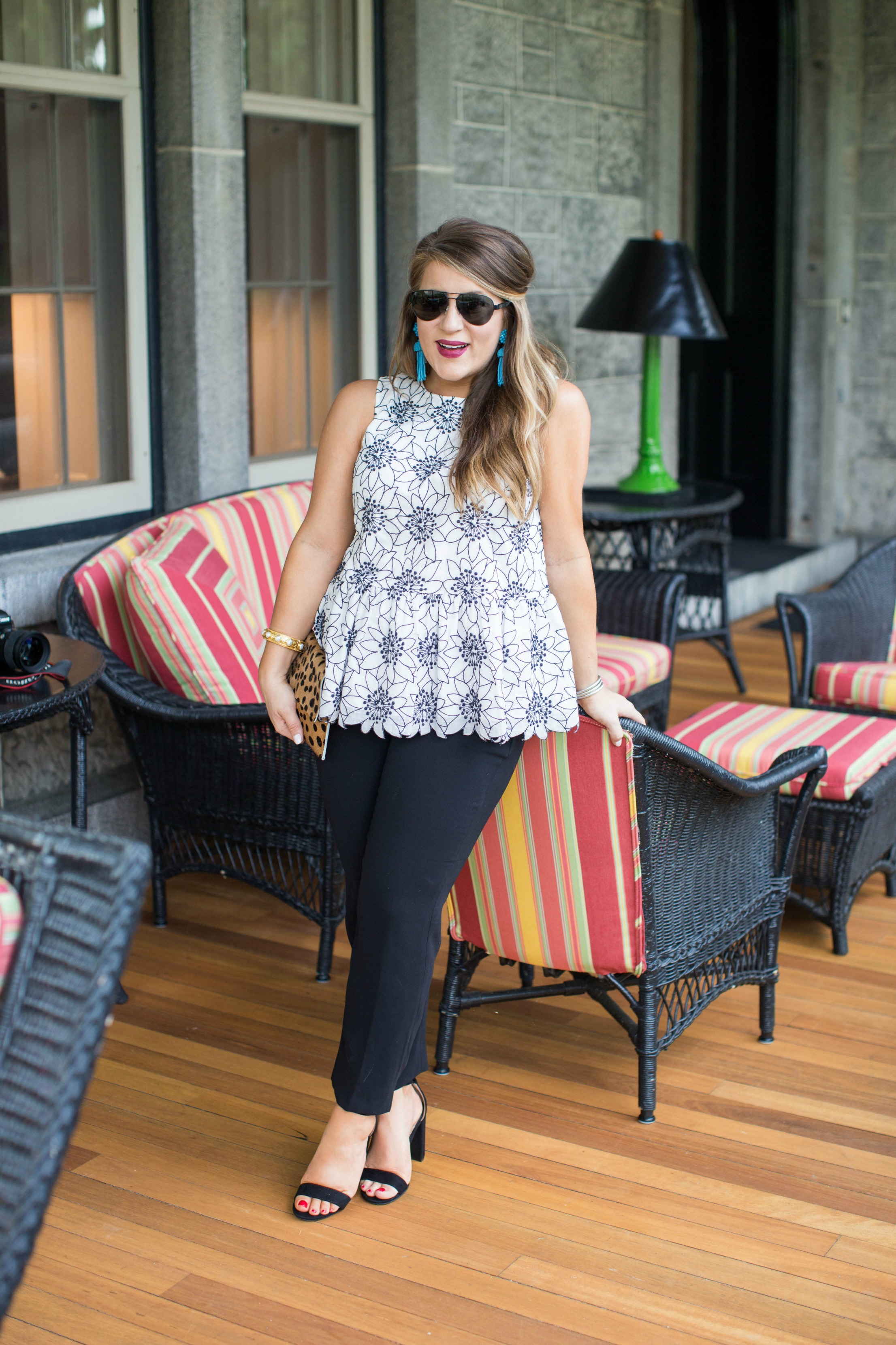 Black and White Floral Peplum Top by NC fashion blogger Coffee Beans and Bobby Pins