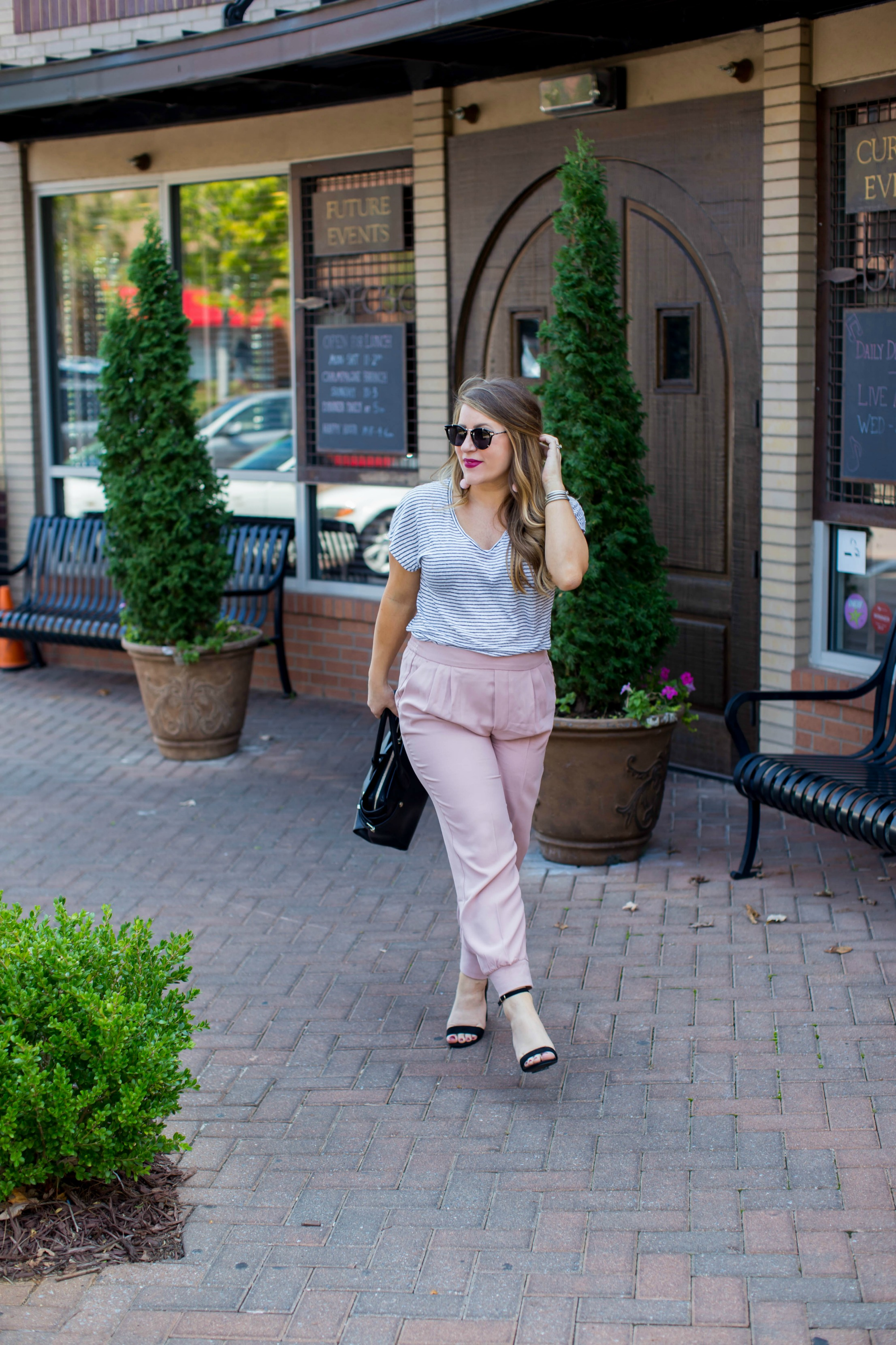 Blush Pink Joggers for Fall by NC fashion blogger Coffee Beans and Bobby Pins