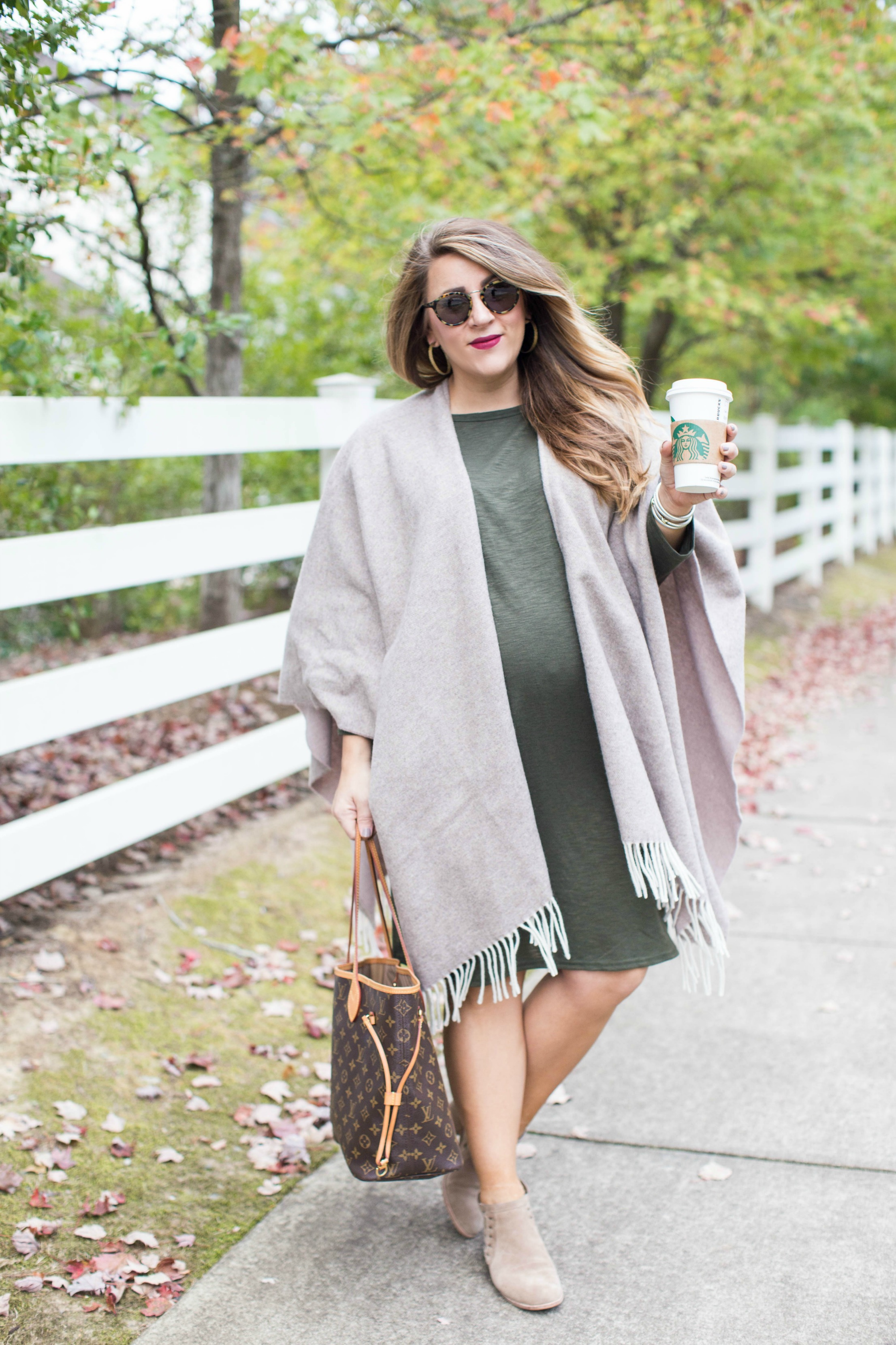 How to Wear a Poncho this Fall by North Carolina fashion blogger Coffee Beans and Bobby Pins