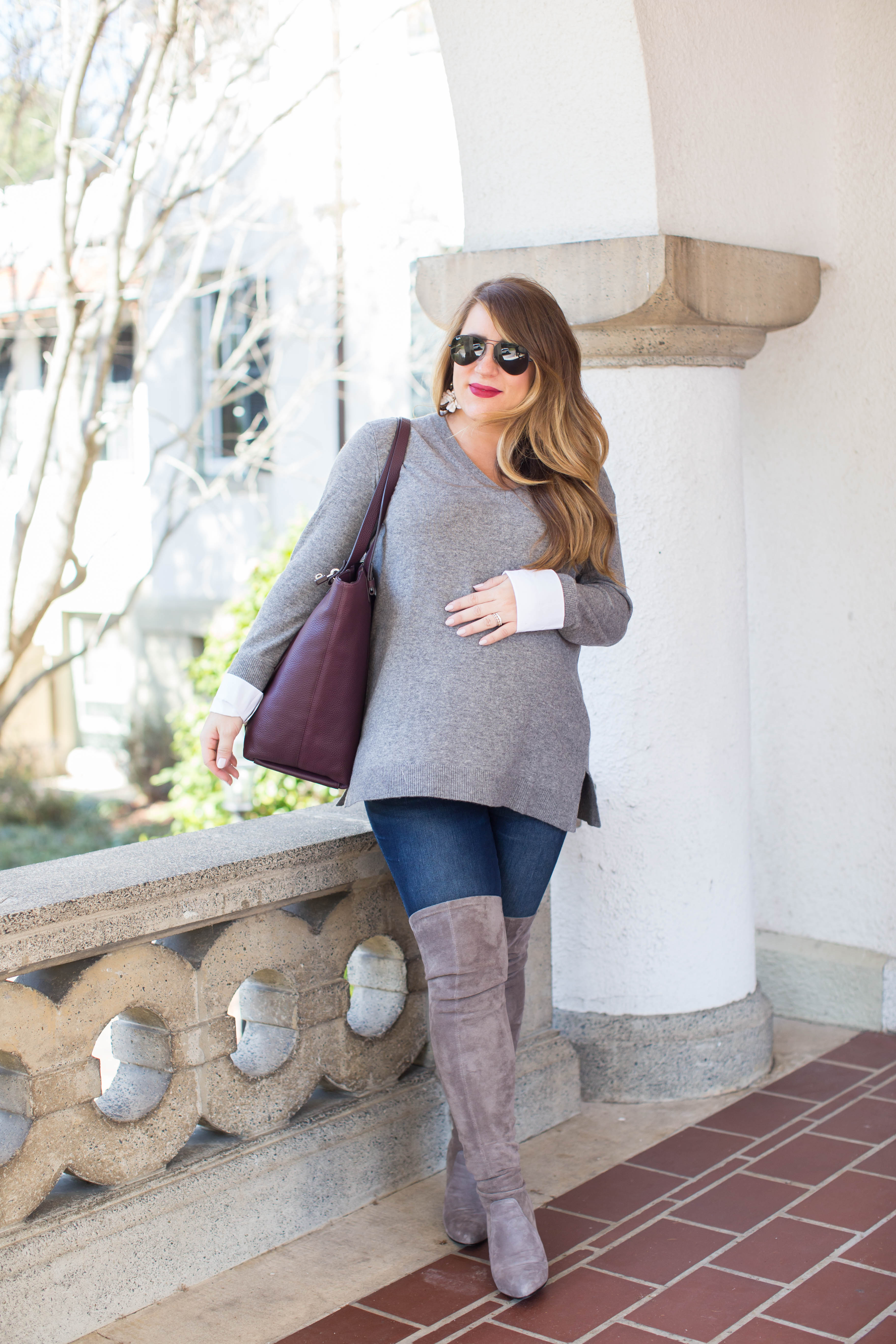The Best Grey Over the Knee Boots by North Carolina fashion blogger Coffee Beans and Bobby Pins