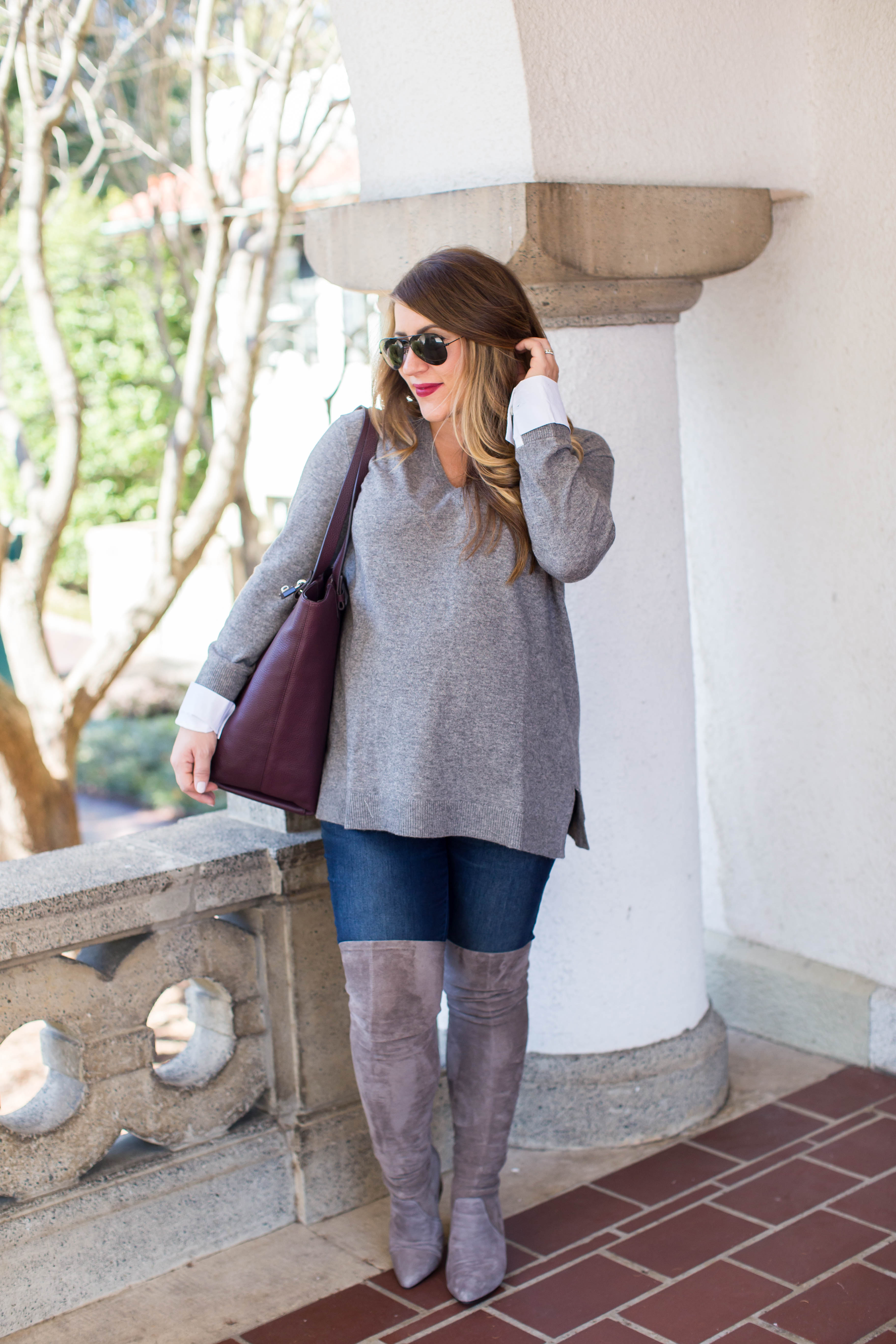 02e9a7f5cb1 The Best Grey Over the Knee Boots by North Carolina fashion blogger Coffee  Beans and Bobby