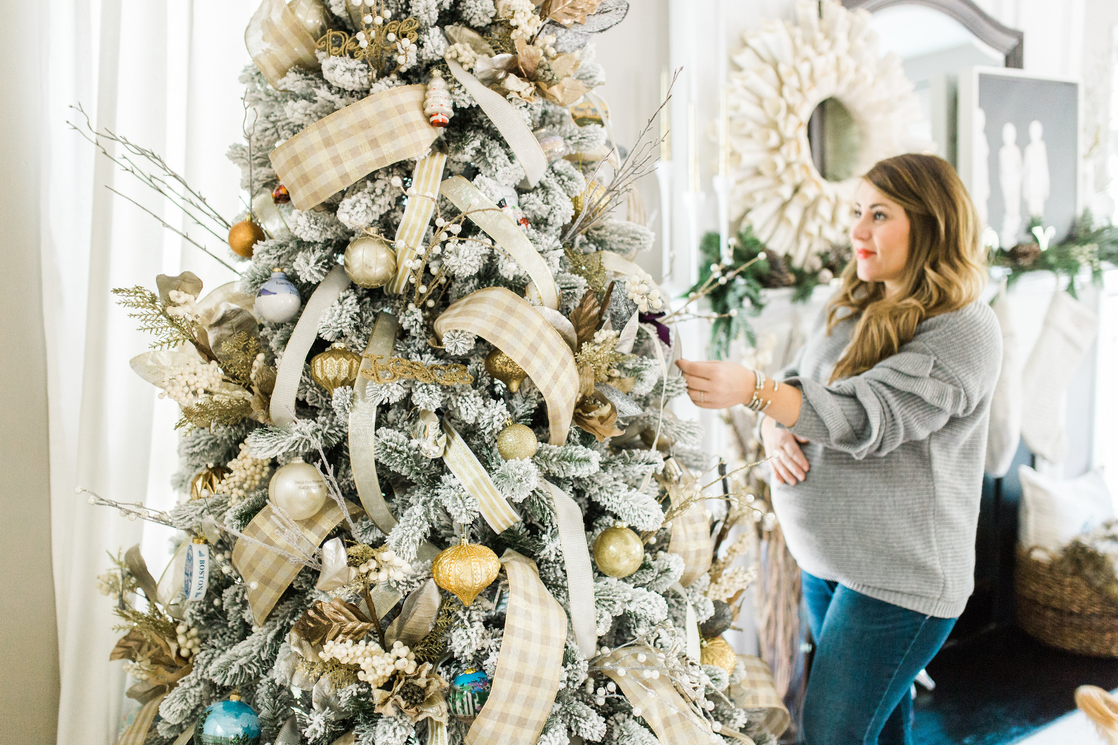 Christmas Tree Ribbons Tutorial by North Carolina style blogger Coffee Beans and Bobby Pins