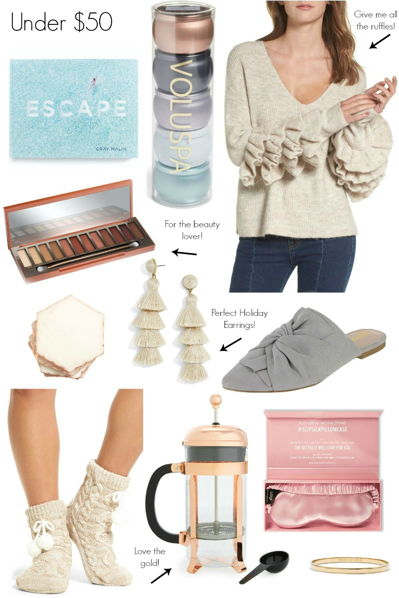 Gift Guide for Her Under $50 by North Carolina style blogger Coffee Beans and Bobby Pins