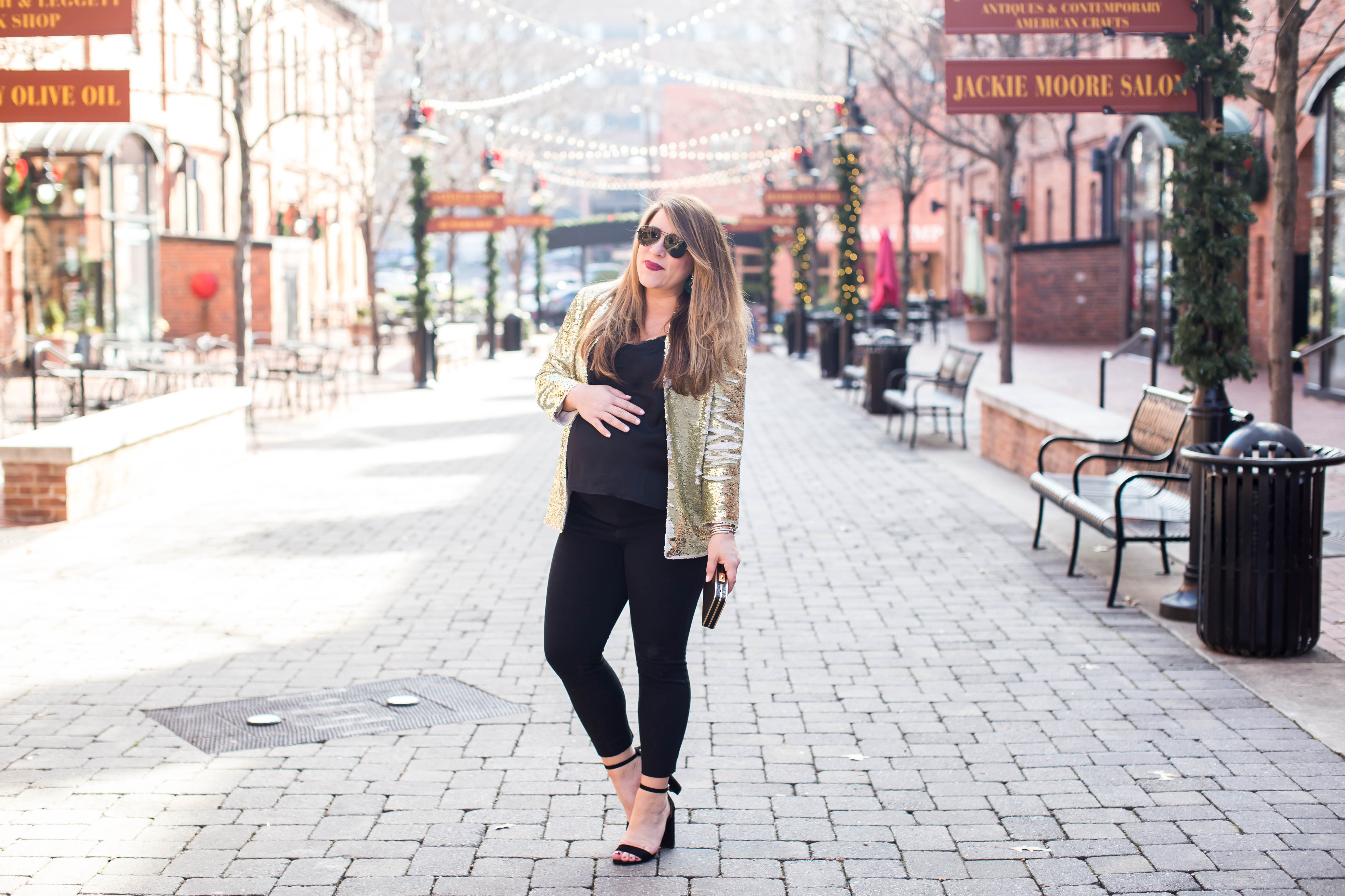 Gold Sequin Blazer by North Carolina fashion blogger Coffee Beans and Bobby Pins
