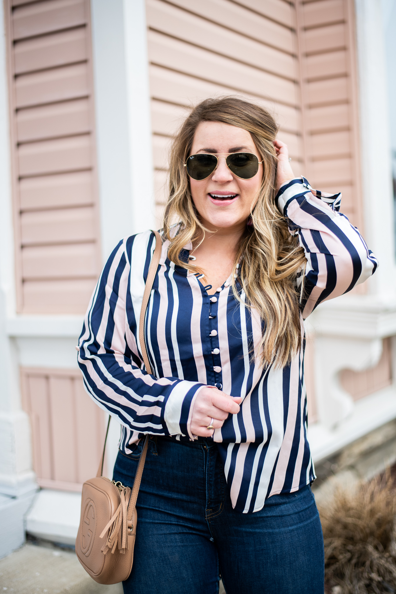 ca81828f774e Striped Blush Blouse featured by top US fashion blog, Coffee Beans and  Bobby Pins; ...