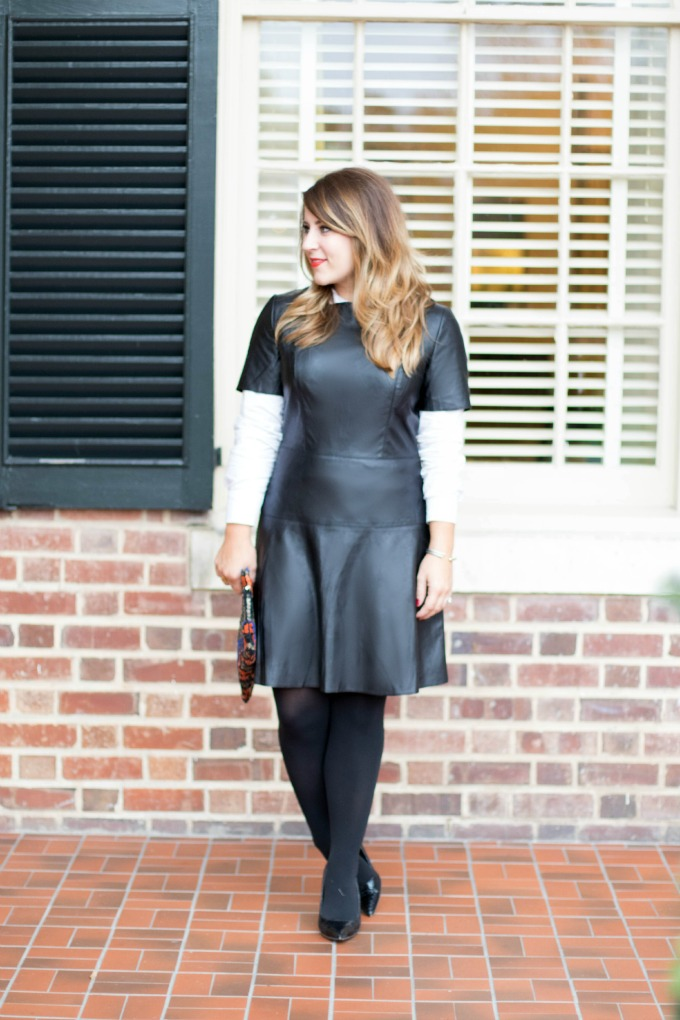 Black Leather Faux Dress