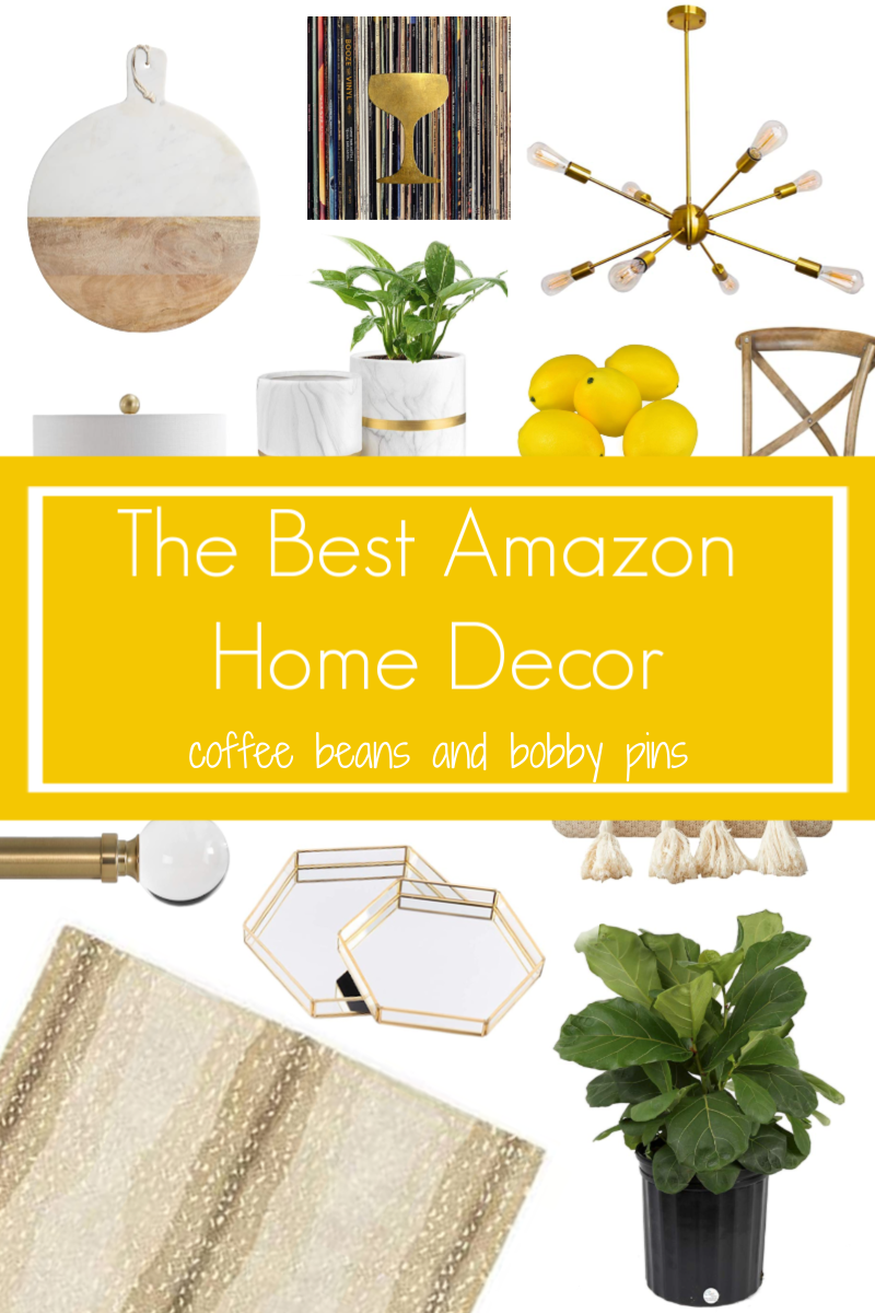 Amazon Home Essentials by popular Ohio life and style blog, Coffee Beans and Bobby Pins: Pinterest image of various Amazon home products.